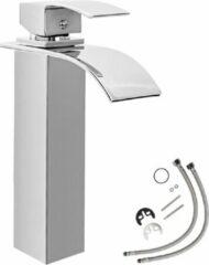 Zilveren TecTake - Hoge waterval mengkraan - voor wastafel - sierlijk ontwerp 402132
