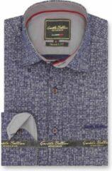 Gentile Bellini Heren Overhemd - Slim Fit - Grundge Texture - Blauw - Maat M