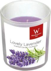 Paarse Trend Candles 1x Geurkaars lavendel in glazen houder 25 branduren - Geurkaarsen lavendel geur - Woondecoraties