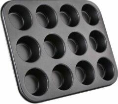 Doodadeals® Muffin Bakvorm Metaal – Muffin Bakblik – Muffin Bakplaat – Cupcake Bakvorm Metaal – Cupcake Vormpjes – Pastei Bakvorm - 12 Vormpjes – Zwart