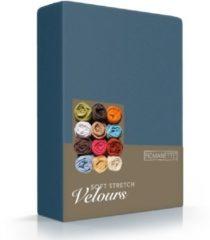 Blauwe Romanette Hoeslaken stretch Teal Velours, 80% Katoen, 20% Polyester, 220 gr/m2 1-persoons 80/90/100x200/210/220