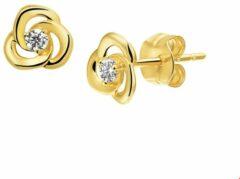 Goudkleurige Selected Jewels TFT Oorknoppen Zirkonia Geelgoud Glanzend 6.5 mm x 6.5 mm