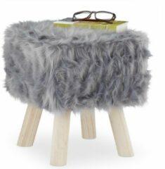 Grijze Relaxdays krukje met vacht - krukje hout - nepbond - hocker - voor kaptafel - zacht