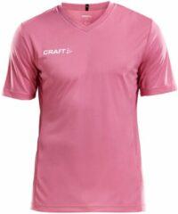 Craft Squad Jersey Solid SS Shirt Heren Sportshirt - Maat L - Mannen - roze/wit