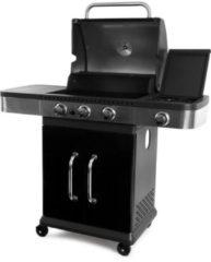 Roestvrijstalen Garden Grill Prestige 3+1 - Gasbarbecue - 3 brander incl zijbrander - Zwart / RVS