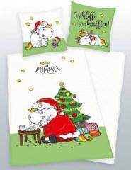 Wendebettwäsche, Pummeleinhorn, »Fröhliche Weihnachten«, mit buntem Motiv