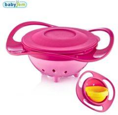 Baby Jem Babyjem gemorste plaat, roze kleur, 360 ° rotatie, met deksel, Fun, babyvoedingskom, BPA-vrij, veilig en functioneel, kantelbare plaat