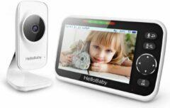 Zwarte HelloBaby HB50 Babyfoon met camera - Extra Groot LCD display - Nachtzicht - Terugspreekfunctie - Temperatuurcontrole - Slaapliedjes - Zoomfunctie
