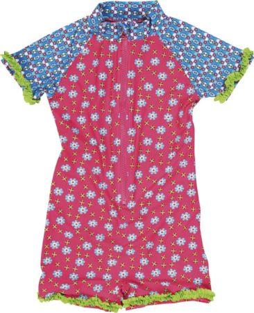Afbeelding van Playshoes UV zwempak Kinderen korte mouwen Bloem - Roze - Maat 122/128