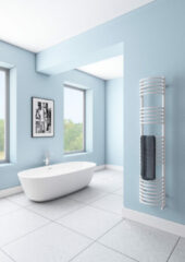 Eastbrook Mezzo Tondo badkamer radiator 1600 x 320 wit (afgbeeld in chroom)