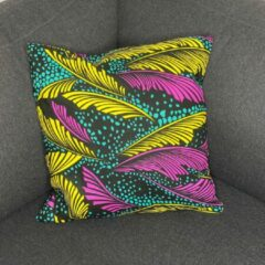 Turquoise Afabs Afrikaans kussen | Geel roze veren - Sierkussen 45x45 - 100% Katoen | Sierkussens 45x45 Kussenhoes | Binnenkussen 45 x 45 | Tribal kussen | African pillow
