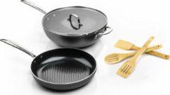 Antraciet-grijze ISENVI Victoria Forged combideal keramische koekenpan 24 CM en wok met deksel 32 CM met spatels - RVS grepen