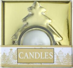 Gouden Lupine Set van 3 glazen waxinelichtjes houder in Helder Glas