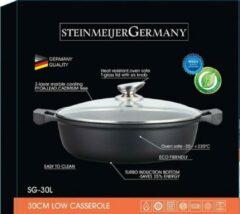 SteinMeijerGermany Marble Coating Wide Braadpan -Ø 34 cm 10 L -Zwart - Met glazen afdekplaat-hapjespan-brede pan- inductie pan