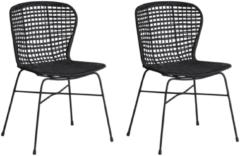 Zwarte Beliani Elfros Eetkamerstoel Set Van 2 Rotan 49 X 56 Cm