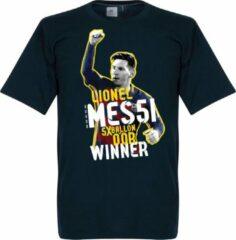 Marineblauwe Merkloos / Sans marque Messi 5 Times Ballon D'Or Winner T-Shirt - XXL
