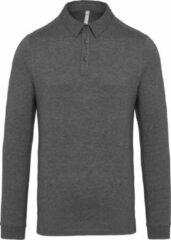 Kariban Heren Jersey Gebreid Poloshirt met lange mouwen (Grijze Heide)