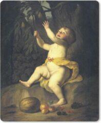 MousePadParadise Muismat Gerrit van Honthorst - Fruitplukkend kind - Schilderij van Gerrit van Honthorst muismat rubber - 19x23 cm - Muismat met foto