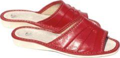 Merkloos / Sans marque Leren dames huisslippers | Instapsloffen | Pantoffels | Instappers | Slippers | Rood | Leer | Maat 40
