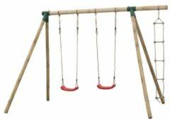Swing King Dubbele houten schommel met touwladder - Charlotte