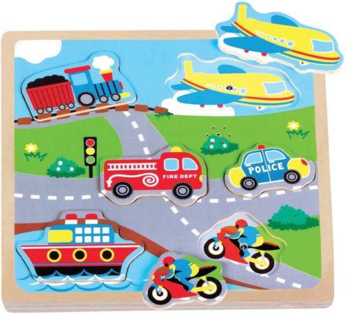 Afbeelding van Puzzel Geluid New Classic Toys: Voertuigen 22x22x2 Cm 0527