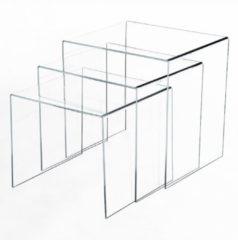 HOMCOM 3er Set Beistelltisch Wohnzimmertisch Couchtisch Acrylglas Gebogen Acryltisch Wohnzimmertisch Couchtisch Tisch