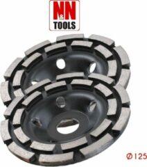 N&N Tools Diamantdoorslijpschijf Bias Cup Dubbel Rij Professional Multi Pack - 2 x 125 mm | Wet & Dry