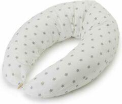 Lumaland borstvoedingskussen zwangerschapskussen zijslaapkussen met overtrek gemaakt van 100% katoen wit/grijs sterren 190 x 150 x 37 x 20 cm