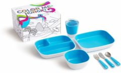 Blauwe Munchkin Color Me Hungry 7-delige Kinderservies - Blue