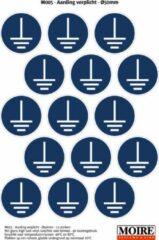 Blauwe Moire BV Pictogram stickers 75 stuks M005 - Aarding verplicht - 50 x 50mm - 15 stickers op 1 vel