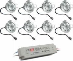 Grijze HOFTRONIC™ Complete set 8x3W niet dimbare veranda LED inbouwspots Lavanto IP44 [vochtbestendig]