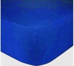 Dekbeddenwereld- hoeslaken- jersey- stretch- Lits-jumeaux-180x200+30cm- geschikt voor boxspring- royal blauw