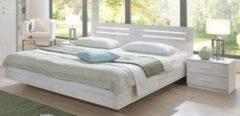 Bett 180 x 200 cm mit Nako Set weisseiche/ Aufleistung Chrom glänzende Wimex Susan