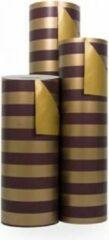 Oranje VerraXL Cadeaupapier Goud-Paars Gestreept - Rol 50cm - 200m - 70gr | Winkelrol / Apparaatrol / Toonbankrol / Geschenkpapier / Kadopapier / Inpakpapier