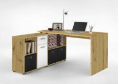 Bruine FMD Bureau Lex - oude eik/wit