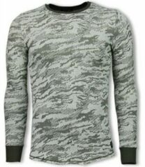 Groene Sweater Uniplay Army Look Shirt - Long Fit Sweater