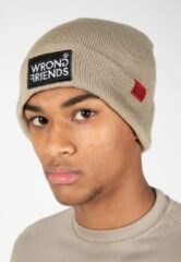 Wrong Friends Classic logo beanie muts - taupe - One size