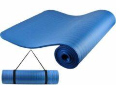 Merkloos / Sans marque Yoga mat - Fitness mat - Pilates - Blauw- 10 mm - met draagriem