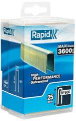 Rapid 40303095 Agrafes N606 Longueur 25mm 3600 pices Pour charpenterie et matriaux rsistants Fil galvanis enduit de rsine Haute performance
