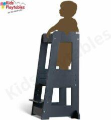 Antraciet-grijze Tissi Leertoren Montessori kleur Grijs| Learning tower | Ontdekkingstoren | Opstapje hout | Keukenhulp | Keukentoren