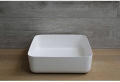 Waskom Opbouw Vierkant Luca Sanitair 40x40x13,5 cm Mineraalsteen Glans Wit