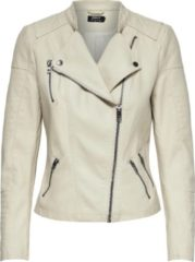 Licht-grijze ONLY ONLAVA FAUX LEATHER BIKER OTW NOOS Dames Jas - Maat 36