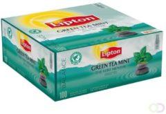 Thee Lipton groen tea mint met envelop 100stuks