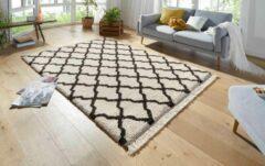 Mint rugs Hoogpolig vloerkleed Pearl - crème/donkerbruin 80x150 cm