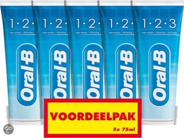 Afbeelding van Oral-B ORAL B OB 5 Pack 1-2-3 Fresh Mint 5x75ml