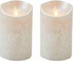 Anna's Collection 2x Zilveren Led Kaarsen / Stompkaarsen 12,5 Cm - Luxe Kaarsen Op Batterijen Met Bewegende Vlam