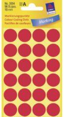Avery-Zweckform 3004 Etiketten à 18 mm Papier Rood 96 stuk(s) Permanent Etiketten voor markeringspunten