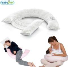 Baby Jem Babyjem - Zwangerschapskussen - Voedingskussen - Lichaamskussen - Zijslaapkussen - Ecru Wit