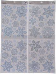 Witte Bellatio Decorations Kerst raamstickers sneeuwvlokken plaatjes 30 x 46 cm - Raamdecoratie kerst - Kinder kerststickers