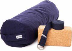 Zenzes PRO bolster met yogariem en yogablok - marine blauw